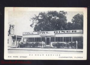 CLEARWATER FLORIDA THE OWL DINER RESTAURANT VINTAGE ADVERTISING POSTCARD