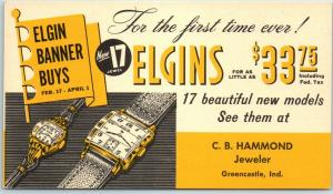 Greencastle, Indiana Postcard C.B. HAMMOND Jeweler Elgin Watch Advertising 1950s