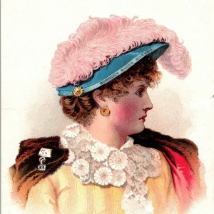 Burdock Blood Bitter's Beautiful Woman In Feathered Hat Victorian Trade Card