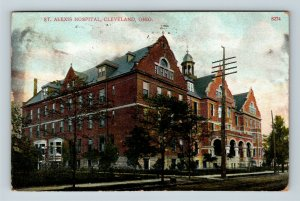 Cleveland OH, St Alexis Hospital, Street View, Tower, Vintage Ohio Postcard