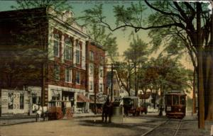 East Hartford CT Comstock Hall & Trolley c1910 Postcard