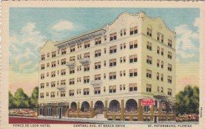 Florida St Petersburg Ponce De Leon Hotel Central Avenue & Beach Curteich sk2323
