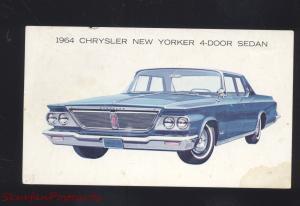 1964 CHRYSLER NEW YORKER VINTAGE CAR DEALER ADVERTISING POSTCARD CARS '64