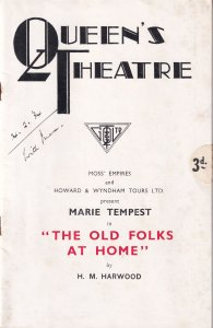 The Old Folks At Home Marie Tempest 1934 Drama Theatre Programme