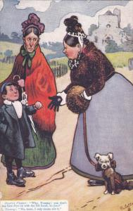 TUCK #9266; Heavy woman with little dog on leash correcting little boy on how...