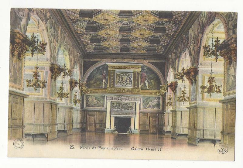France Palais Fontainebleau Galerie Henri II E. Le Delay Vntg Postcard