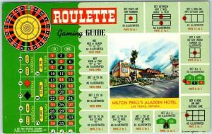 Las Vegas, Nevada Postcard Milton Prell's ALADDIN HOTEL Roulette Gaming Guide