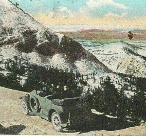 c.1920s Pikes Peak Auto Highway, Car, Mountain, Colorado Postcard