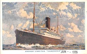 Anchor Line Ship Postcard Old Vintage Antique Post Card TSS Cameronia Unused