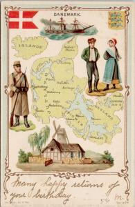 Denmark Danemark Map Serie 74 c1904 Postcard E45