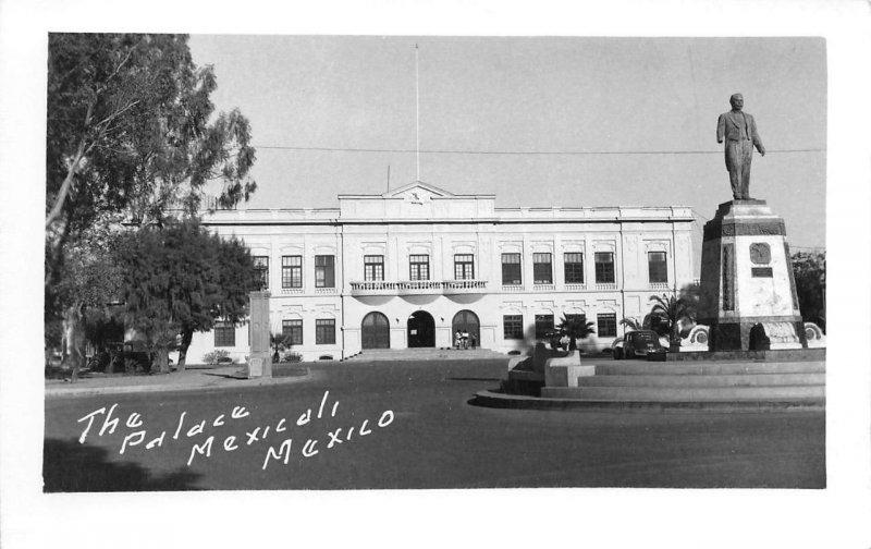 RPPC The Palace MEXICALI Mexico Obregon Statue c1950s Vintage Photo Postcard