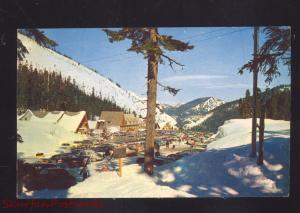 STEVENS PASS WASHINGTON SUMMIT INN RESORT 1950's CARS WINTER SNOW POSTCARD