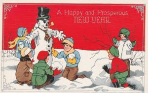 Children Building Snowman - Happy and Prosperous New Year's Greetings - Linen