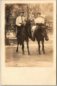 Vintage RPPC Real Photo Postcard Young Man & Woman on Horses Horseback c1920s