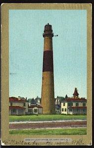 USA Postcard Absecon Lighthouse Atlantic City NJ Receiver Flag Cancel 1906 UDB