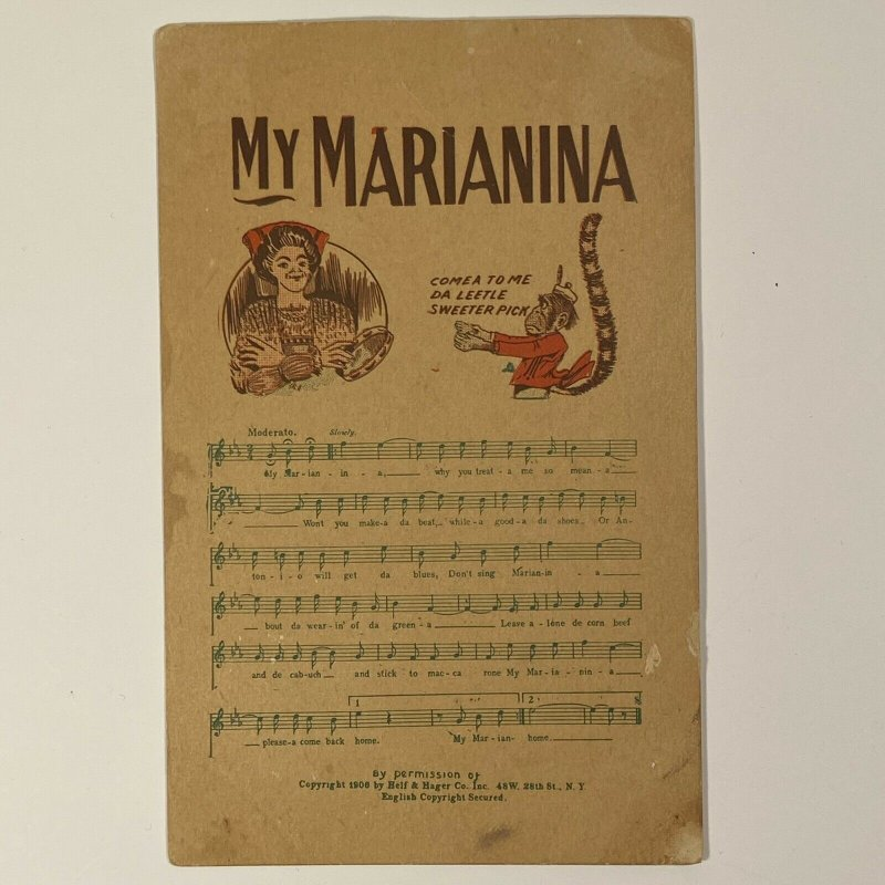 MY MARIANINA Song Music and Lyrics Cpyrt 1906 by Helf & Hager Co No. 4600 Series