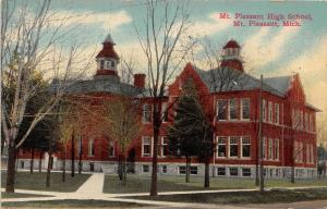 Michigan MI Postcard MOUNT MT PLEASANT 1913 HIGH SCHOOL Building
