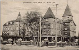 International Hotel Sault Ste. Marie Ontario ON c1908 Postcard E44