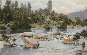 Chromograph Postcard; Man Fishing, Savage Rapids on Rogue River Grants Pass OR
