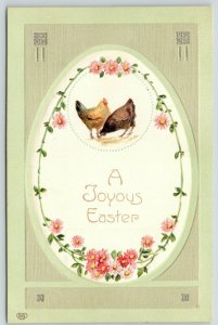 EAS Easter~Chicken Hens Peck in Pink Daisy Chain Egg Portal~Lime~Glossy Emboss