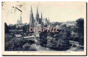 Old Postcard Strasbourg L & # Protestant 39eglise St Paul cathedral