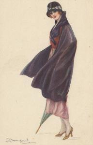 BOMPARD ; Art Deco Female Portrait  , 1910s #2