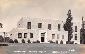 Algona IA Art Deco Municipal Power Plant~Tall, Thin Evergreen Trees RPPC 1940s