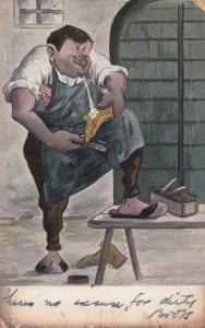 Antique Shoe Maker Blacksmith Comic 1906 Postcard