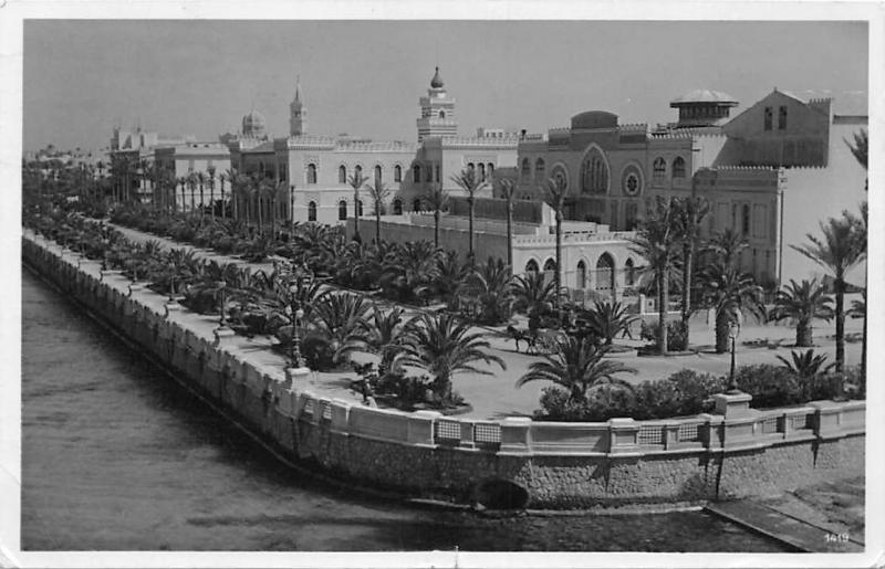 Libya Tripolis, Libia Tripoli, partial view panorama, carriage 1939 real photo