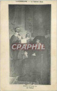 Postcard Old Luxembourg Cabinet Dore Richelieu and Louis XIII by Cabanel