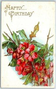 Vintage HAPPY BIRTHDAY Embossed Greetings Postcard Red Flowers c1910s
