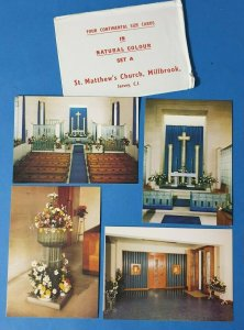 4 Postcards in Original Envelope St. Matthew's Church, Millbrook, Jersey, CI AV1