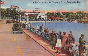 Clearwater Florida~Causeway Bridge~Lady Waves Little Fish~Fishing~1940 Linen PC