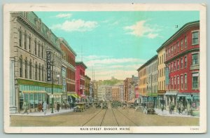 Bangor Maine~Main Street~Furniture Store~Lots of Window Shoppers~1936 Postcard