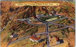 EL PASO, Texas  TX   Airplane View  COLLEGE of MINES  ca 1940s Linen   Postcard