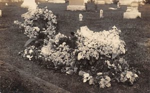 Cemetery Post Card Flowers at the Grave Site Real Photo Unused
