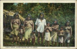 Panama Native American Darien Indians Family Women Children c1920 Postcard