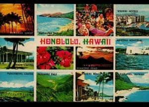 Honolulu HI Perry GA Multi View Waikiki Makapuu Beaches Vintage Postcard D01