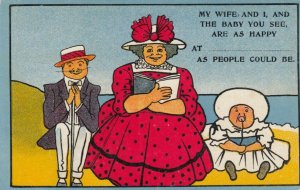 COMIC: 1900-10s; Happy Family of three sitting at the beach