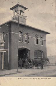 Malden Mass Fire House Antique American Firemans Home Postcard