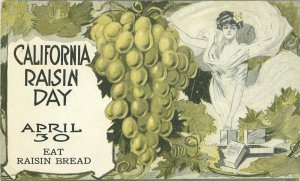 c1910 California Raisin Day Poster Style Farm Agriculture Advertising Postcard