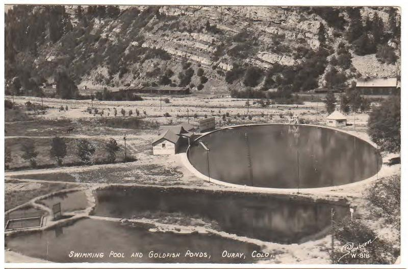 OURAY, COLORADO SWIMMING POOLS & GOLD FISH PONDS REAL PHOTO POSTCARD