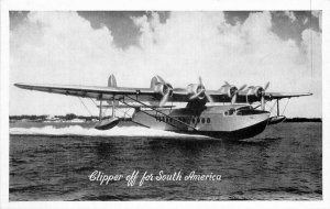 Aircraft Airline Advertising Clipper in Flight RPPC Photo Postcard 20-3351