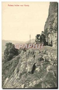 Old Postcard Sri Lanka Ceylon Railway incline near Kandy Train