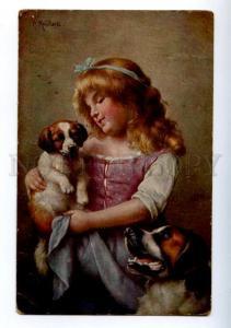 156619 Saint BERNARD Girl ST. BERNARD Dog by REICHERT Vintage