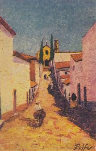 Painting of small town, man on a donkey in  Mexico by Rolfe, 10-20s