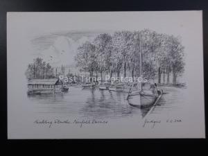 Norfolk Broads HICKLING STAITHE c1930's Pencil Sketch by Judges Ltd SC342