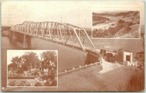 1938 Nebraska City, Neb. Postcard Waubonsie Bridge over the Missouri River