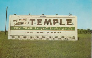 TEMPLE , Texas , 1940-60s ; Welcome Sign
