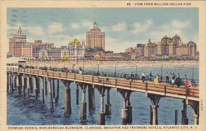 View Of Hotels From Million Dollar Pier Atlantic City New Jersey 1940